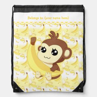 Cute Kawaii monkey holding banana Drawstring Bag