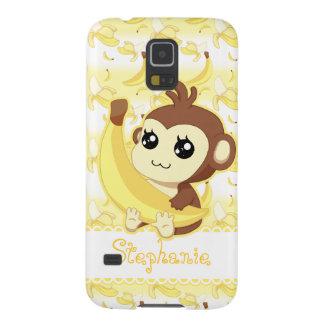 Cute Kawaii monkey holding banana Galaxy S5 Cover
