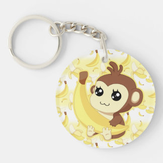 Cute Kawaii monkey holding banana Keychain