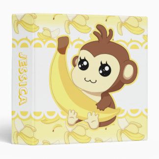 Cute Kawaii monkey holding banana Vinyl Binders