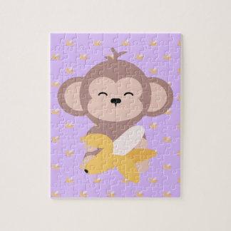 Cute Kawaii Monkey with Banana Jigsaw Puzzle
