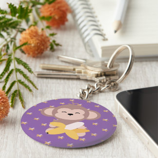 Cute Kawaii Monkey with Banana Keychain