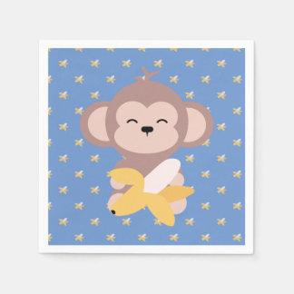 Cute Kawaii Monkey with Banana Napkin Paper Napkin