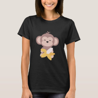 Cute Kawaii Monkey with Banana T-Shirt