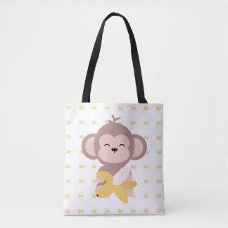 Cute Kawaii Monkey with Banana Tote Bag