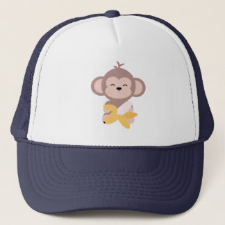 Cute Kawaii Monkey with Banana Trucker Hat