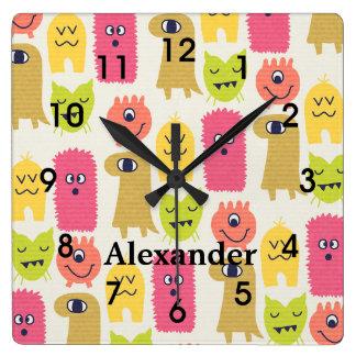 Cute Kawaii Monsters Nursery Wall Clock