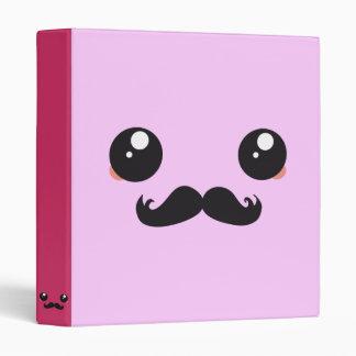 Cute Kawaii Mustache Vinyl Binder