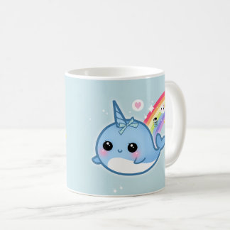 Cute kawaii narwhal with rainbow and sparkle stars coffee mug