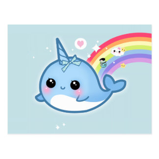 Cute kawaii narwhal with rainbow and sparkle stars postcard