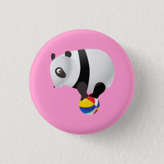 Cute Kawaii Panda on Ball 1 Inch Round Button