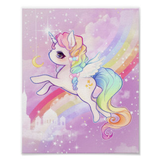 Cute kawaii pastel unicorn with rainbow and castle poster