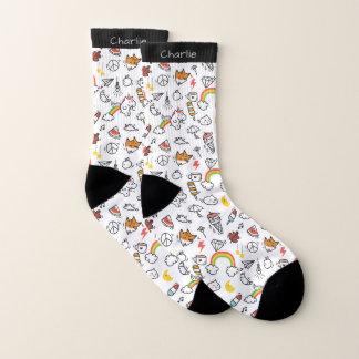 Cute Kawaii Pattern custom name socks