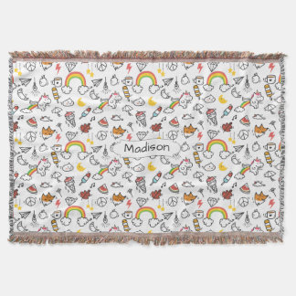 Cute Kawaii Pattern custom name throw blanket
