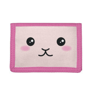 Cute, Kawaii, Pink Bunny Design Trifold Wallet