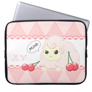 Cute kawaii pink fiesty sheep with cherries laptop sleeve