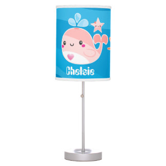 Cute Kawaii Pink whale and starfish add name lamp