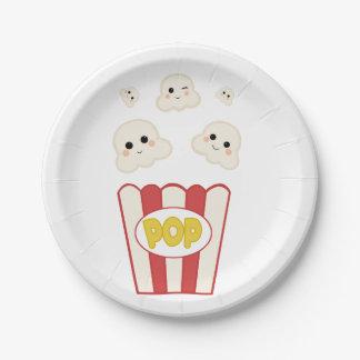 Cute Kawaii Popcorn Paper Plate
