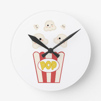 Cute Kawaii Popcorn Round Clock