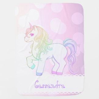 Cute kawaii rainbow colored unicorn pony baby blanket
