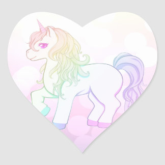 Cute kawaii rainbow colored unicorn pony heart sticker