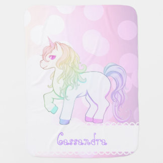 Cute kawaii rainbow colored unicorn pony swaddle blanket