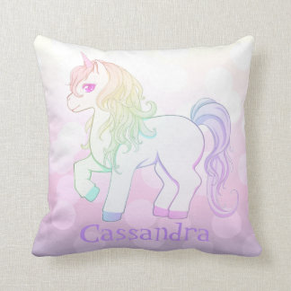 Cute kawaii rainbow colored unicorn pony with name throw pillow
