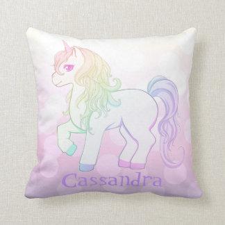 Cute kawaii rainbow colored unicorn pony with name throw pillows