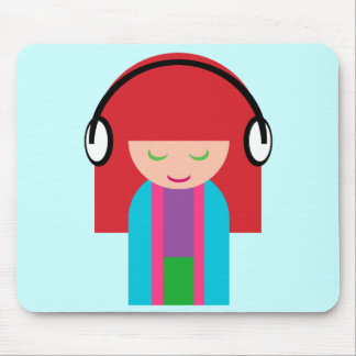 Cute Kawaii Redhead Girl Listening to Music Mouse Pad