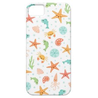 Cute kawaii sea life starfish squid crab pattern iPhone 5 case