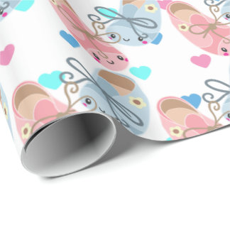 Cute Kawaii shoes Gender reveal party wrap Wrapping Paper