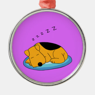 Cute Kawaii Snoring Airedale Dog Premium Ornament