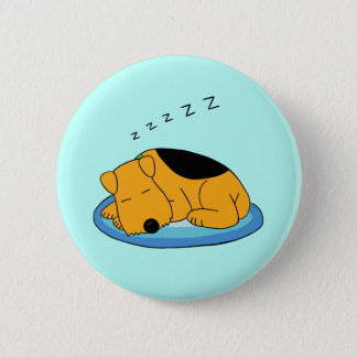 Cute Kawaii Snoring Airedale Terrier Dog Button