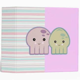 Cute Kawaii Squid and Octopus Striped Notebook Binders
