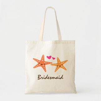 Cute kawaii starfish love cartoon bridesmaid tote bag