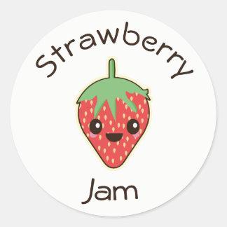 Cute Kawaii Strawberry Jam Jar Label Round Sticker