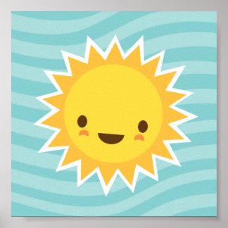 Cute kawaii sun cartoon character on blue kids poster