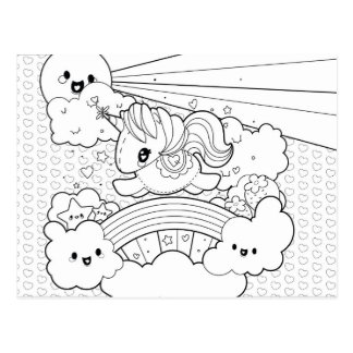 Cute Kawaii Sunny Unicorn coloring cover page Postcard