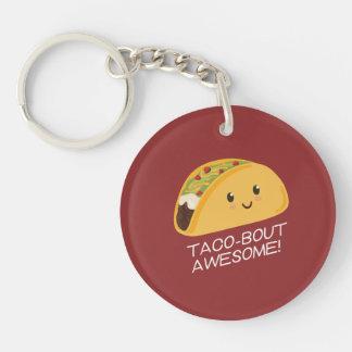 Cute Kawaii Taco Taco-bout Awesome Keychain