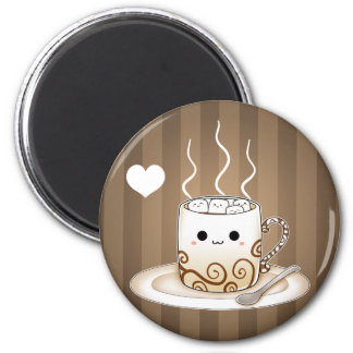 Cute kawaii warm cocoa drink 2 inch round magnet