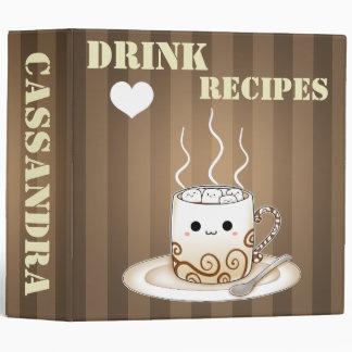 Cute kawaii warm cocoa drink big vinyl binders