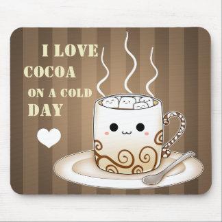 Cute kawaii warm cocoa drink mouse pad
