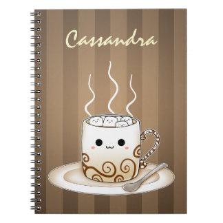 Cute kawaii warm cocoa drink spiral notebook