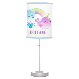 Cute Kawaii whale unicorn add name lamp