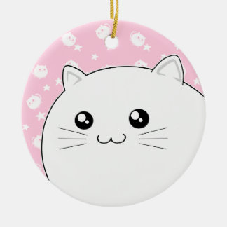 Cute Kawaii white kitty cat Ceramic Ornament