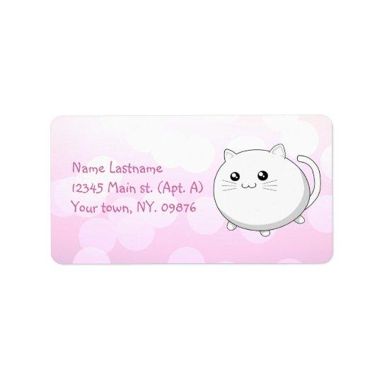Cute kawaii white kitty cat label