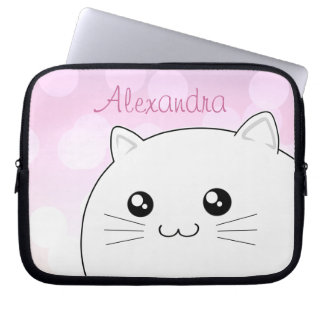 Cute kawaii white kitty cat laptop sleeve
