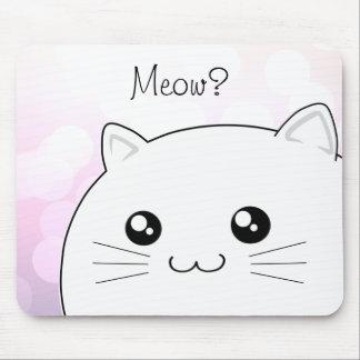 Cute kawaii white kitty cat mouse pad