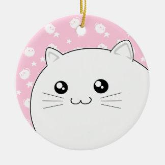 Cute Kawaii white kitty cat Round Ceramic Ornament