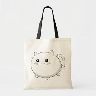 Cute kawaii white kitty cat tote bag